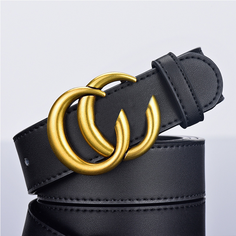 Black Old Vintage Double C Buckle Belt Couple's Decorative Jeans Belt Business Casual All-match Belt