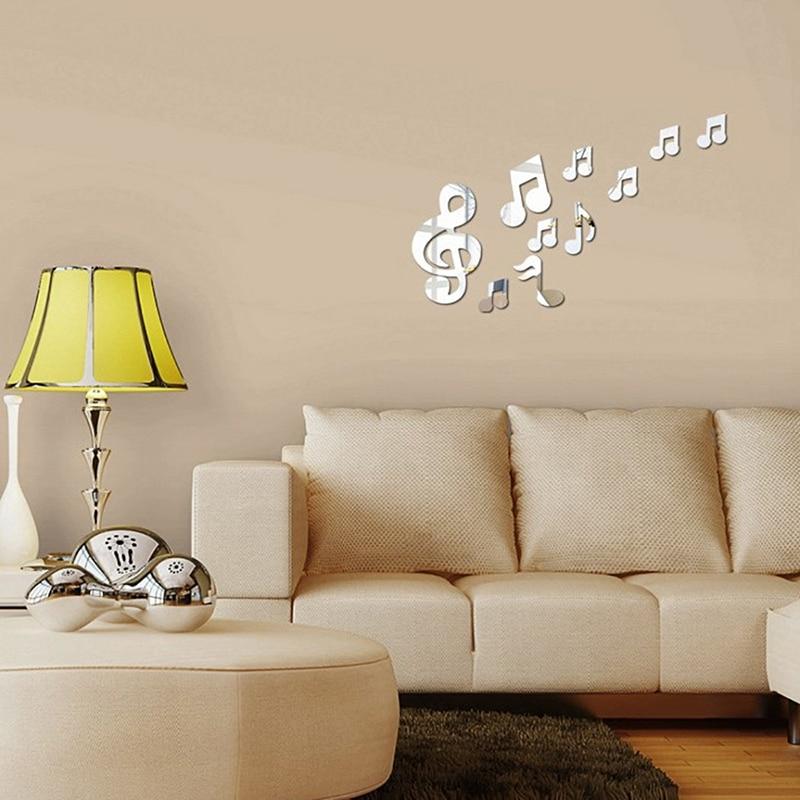 Купить музыкальные нотки наклейки на стену зеркальная поверхность diy