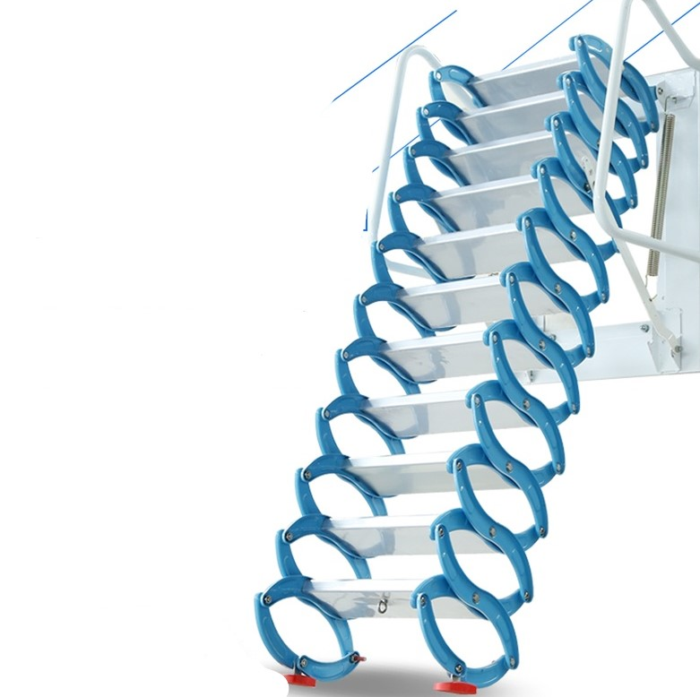 Household Tool Set Outdoor Wall-mounted Telescopic Staircase Manual Folding Ladder Portable Telescopic Staircase 2.5-3M
