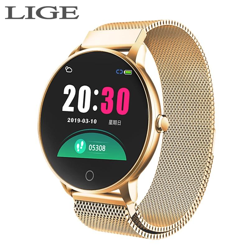 2019 Nova Cor mulheres esporte tela smart watch das mulheres Dos Homens de Fitness rastreador Para iPhone freqüência cardíaca pressão arterial função smartwatch