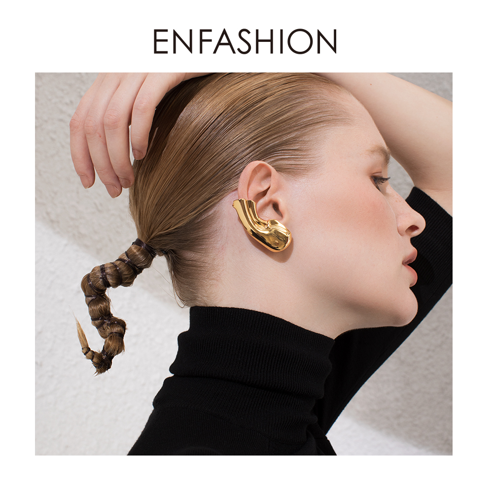 ENFASHION Punk Earlobe Ear Cuff Clip On Earrings For Women Gold Color Auricle Earings Without Piercing Fashion Jewelry E191121