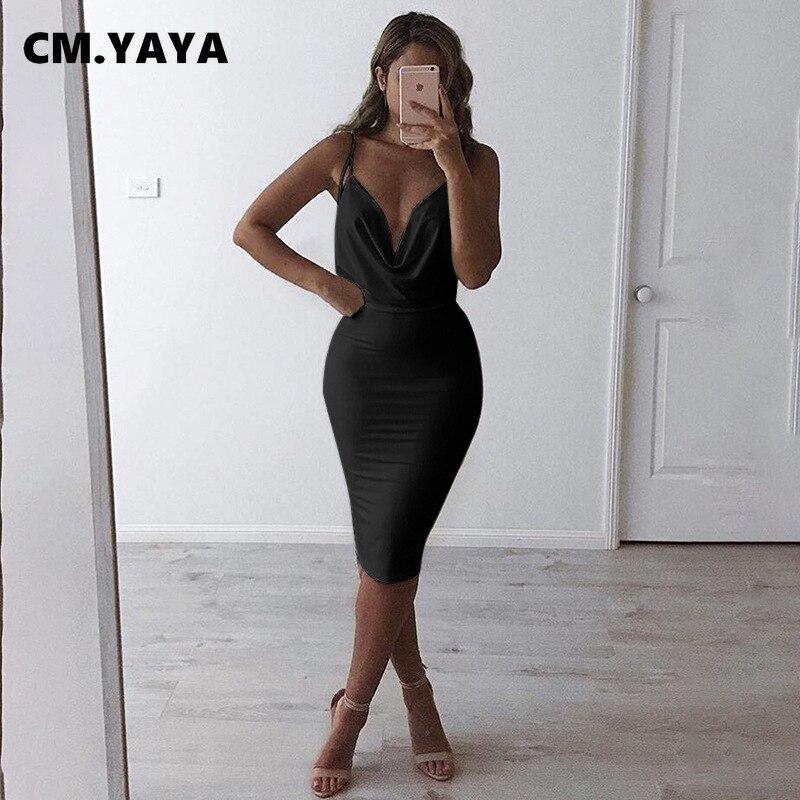 CM.YAYA-vestido Midi ajustado para mujer, Vestidos sexis ajustados con tirantes finos, Espalda descubierta, escote profundo, 2021