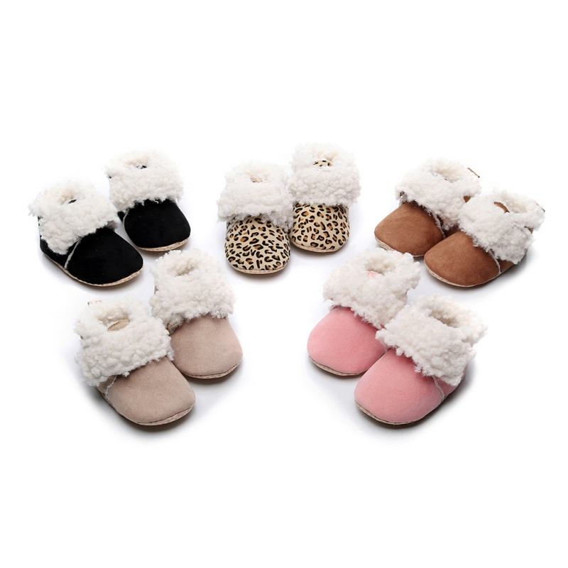Cute Baby Boy Girl Shoes Boot New Winter Warm 0-18M Infant Leopard Print Casual PU Leather Boots Toddler Shoes #m