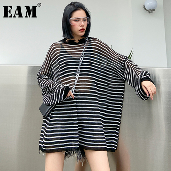 [EAM] Women Balck Thin Striped Big Size Knitting Thin T-shirt New Round Neck Long Sleeve  Fashion Tide  Spring Summer 2020 1U006