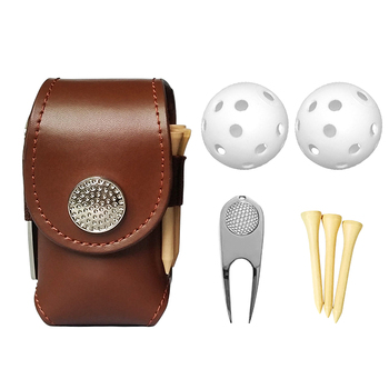 Outdoor Golf Ball Leather Bags Mini Pocket Golf Bag Holder with 2 Balls 3 Tees 1 Golf Divot Repair Tool Set Golf Equipment 1