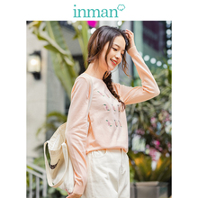 INMAN Fashion Round Collar Embroidery Threaded Sleeve Women Pullover Sweater