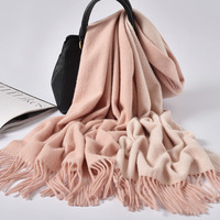 Women 100% Pure Wool Scarf Pink Two sided Available 2019 Brand Warm Shawls and Wraps for Ladies Solid Warps Winter Wool Scarves