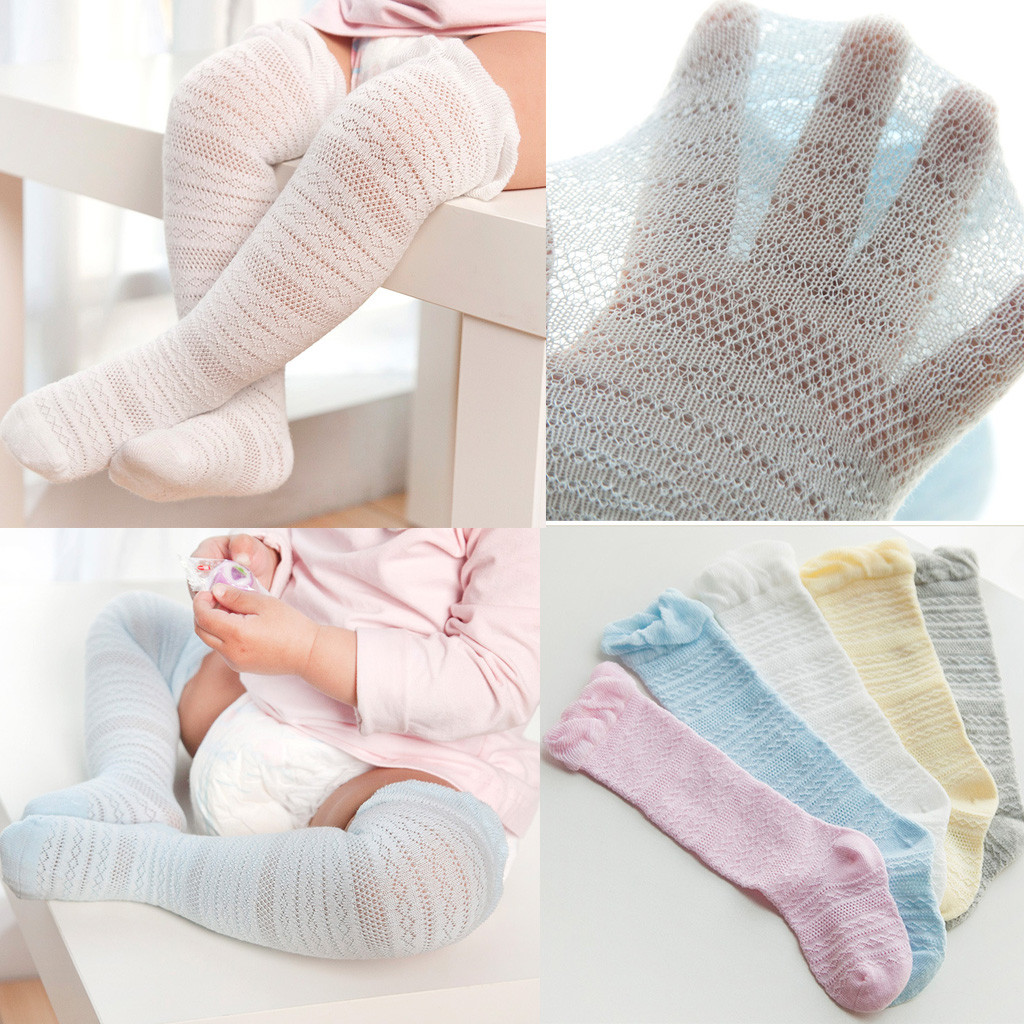 Newborn Baby Boys Girls Children's Socks носки детские Puericulture Calze Solid Lace Knee High Antislip Princess Stockings H5