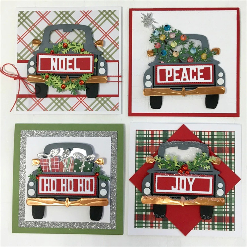 <font><b>Christmas</b></font> car background Metal <font><b>Dies</b></font> Scrapbooking Metal <font><b>Cutting</b></font> <font><b>Dies</b></font> Craft <font><b>Stamps</b></font> <font><b>die</b></font> Cut Embossing Card Make Stencil Frame image