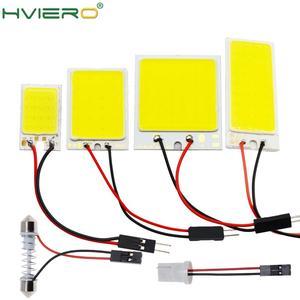 Image 1 - 2x branco 24 36 48smd cob led painel de leitura automática mapa lâmpada painel luz cúpula festoon ba9s 3 adaptador dc 12v auto led cob luzes led