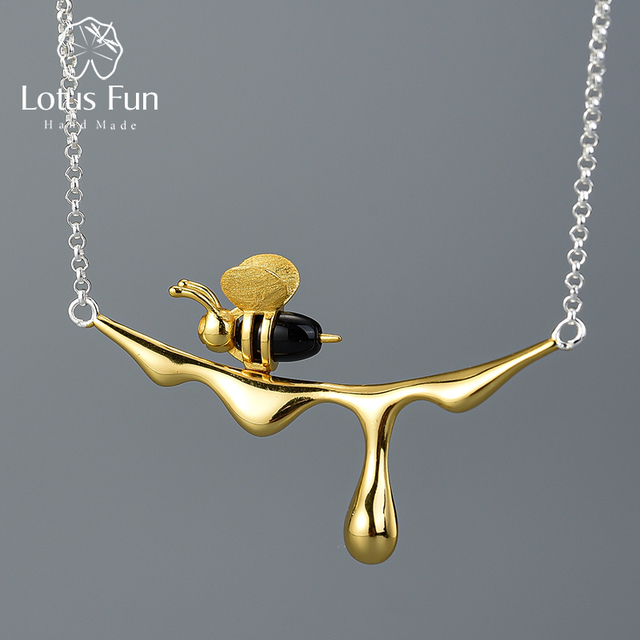 Lotus Fun 18K Gold Bee and Dripping Honey Pendant Necklace Real 925 Sterling Silver Handmade Designer Fine Jewelry for Women 1