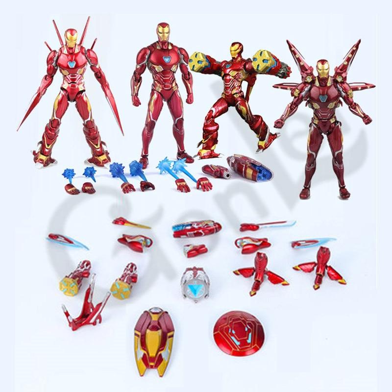 2019 film Marvel Avengers 4 Endgame SHF Iron Man MK50 Nano arme ensemble 2 figurine à collectionner modèle jouets poupées cadeau