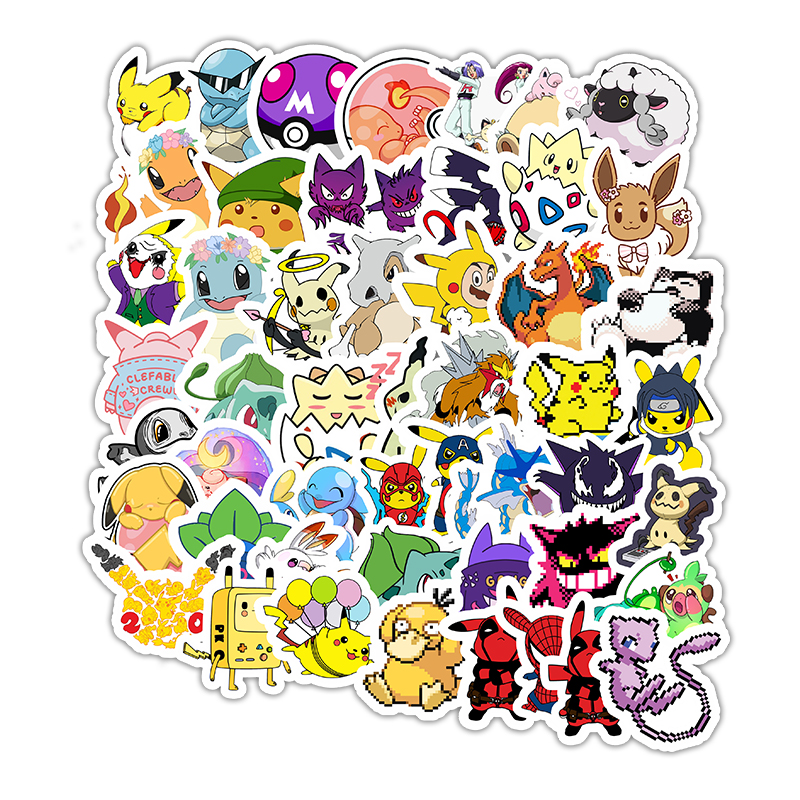 50pcs Cute Anime Cartoon Stickers Pikachu Monster Brinquedos Anime Snowboard Laptop Luggage Car Pegatina Gifts For Kids F5