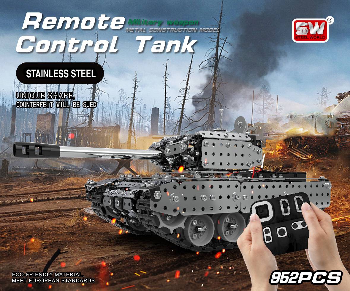 SW (RC) 006 Stainless Steel Assembled Remote Control Tank 952PCS Wireless Remote Control Military Model Toy