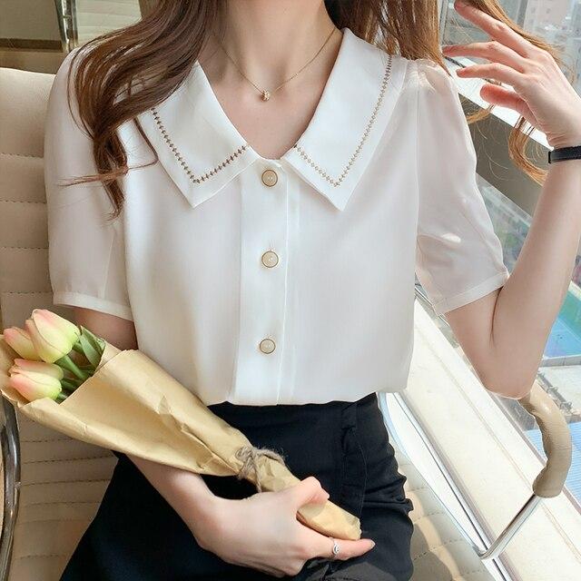 Blusas Blouses Femme Tops Women Turn Down Collar Blouse Women 2021 Summer White Blouse Short Sleeve Chiffon Blouse Shirt E778 5