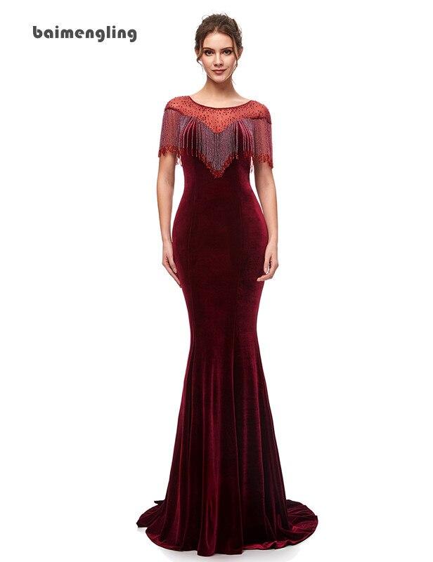burgundy evening dress, mermaid velour charming dress