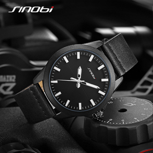 Image 5 - Новые мужские часы SINOBI 2020, простые спортивные военные часы, мужские роскошные брендовые модные повседневные коричневые кожаные кварцевые наручные часы