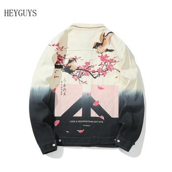 NAGRI Streetwear Denim Jackets Men Hip Hop Flower Jeans Coat Long Sleeve Chinese Style 2019 Fashion Mens Casual Jacket Cotton