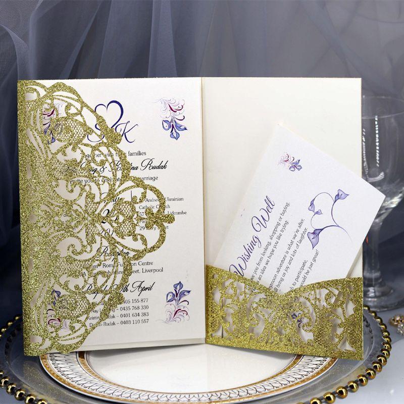 50pcs Wedding Invitation Cards Kits with Envelopes Laser Cut Birthday Greeting Card Wedding Decoration Party Supplies E65B