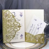 50pcs Wedding Invitation Cards Kits with Envelopes Laser Cut Birthday Greeting Card Wedding Decoration Party Supplies E65B