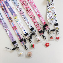 For iphone 11 X XR Cartoon Cute Pendant Neckline Key Lanyard Certificate Gym Mobile Phone with USB Camera ID Folder DIY Lanyard(China)