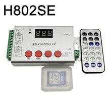 H802se 픽셀 led 컨트롤러 4 포트 드라이브 6144 픽셀 지원 dmx512 ws2811 ws2812 apa102 등 ir 무선 원격 제어