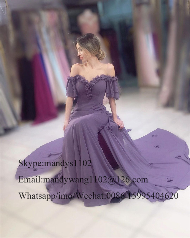 Flowing Chiffon Long Prom Dresses 2021 Sexy Off Shoulder Evening Party Gowns With Flowers Formal Plus Size Robe de soirée
