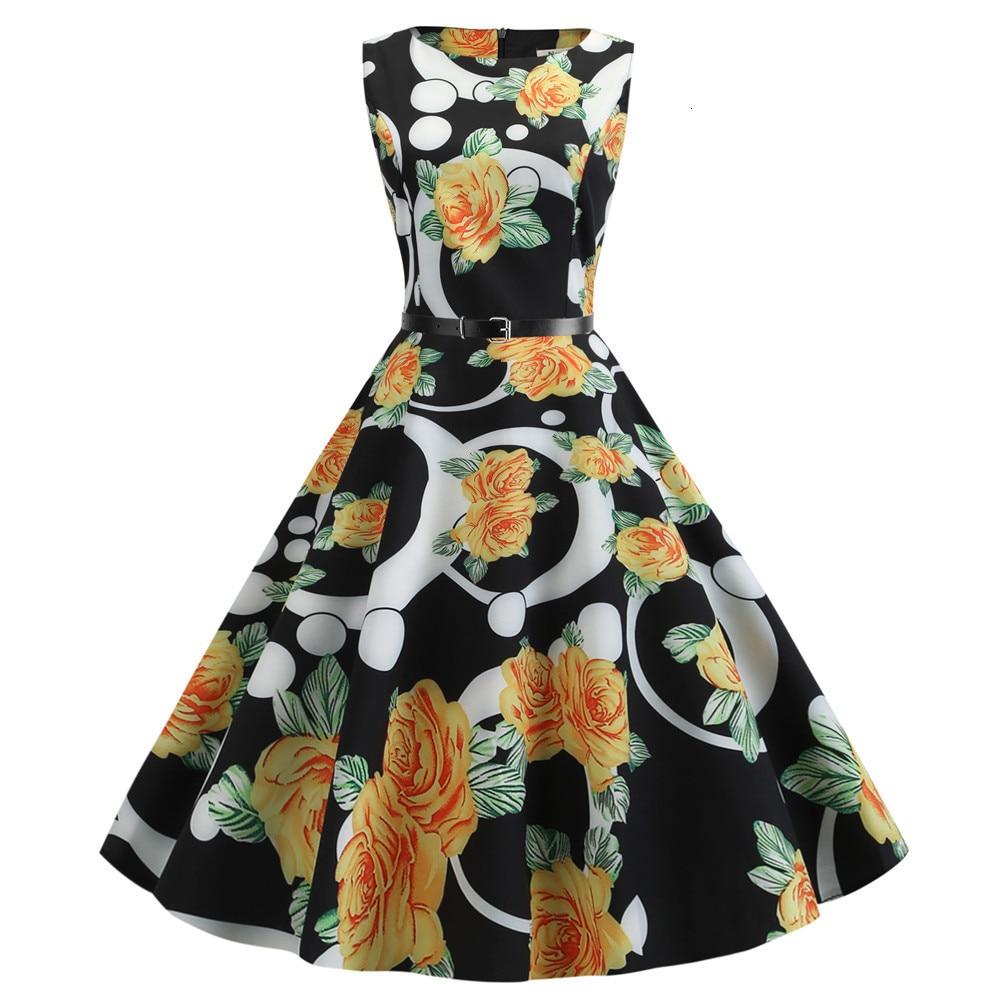 Summer Dress Women Vintage Elegant Swing Rockabilly Party Dresses Casual Tunic Runway Dress