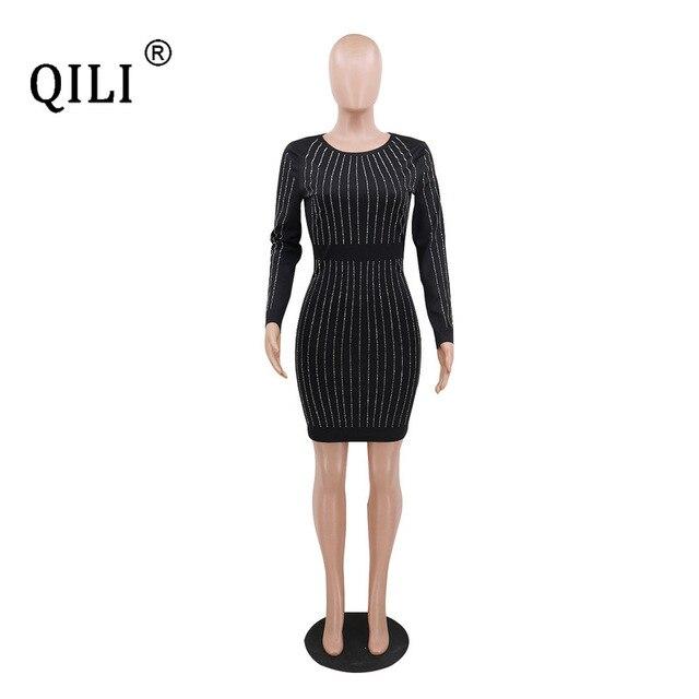 Фото qili женское платье с длинным рукавом со стразами стразы весна цена