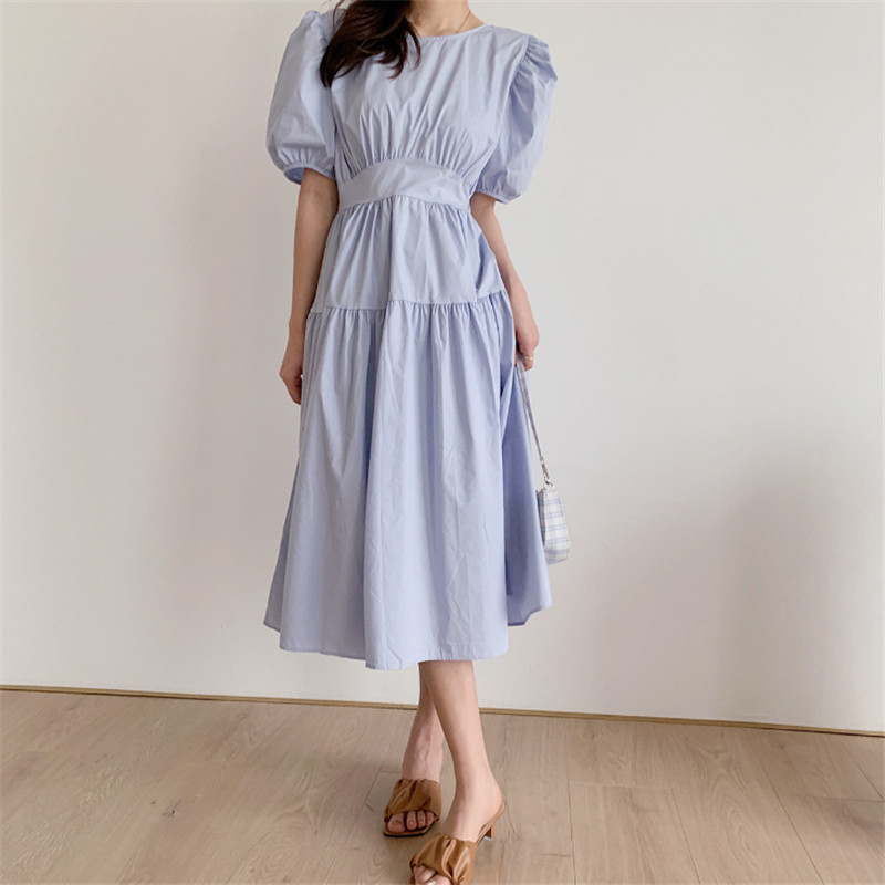 Summer  Women  Casual  Puff Sleeve Empire  Solid O-Neck  Pullover Dress  Girls