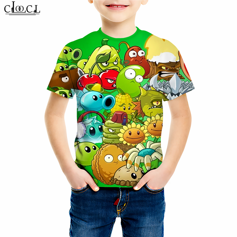 Plants Vs Zombies Printed T Shirts Boy Girl Sweatshirt Kids Games Peashooter 3D Print Hoodies Children's Baby Casual Shorts Suit