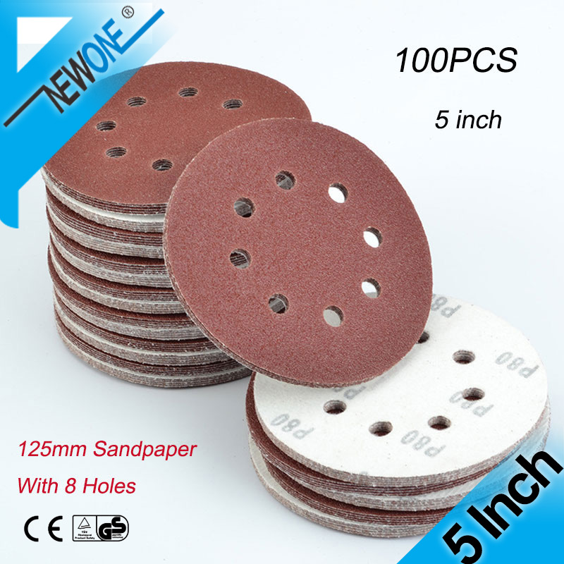 NEWONE 5Inch 125mm Round Sandpaper Eight Hole Disk Sand Sheets Grit 40-800 Sanding Disc Polish In Abrasive Tool Accessories