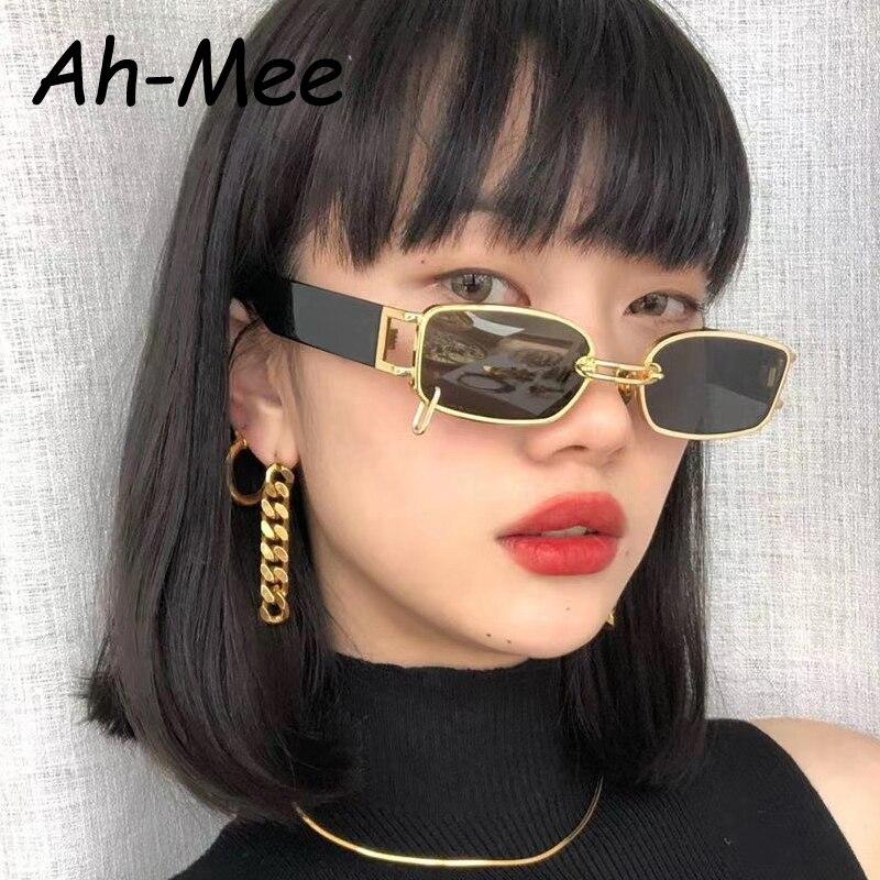 Rectangle Sunglasses Women Hip Hop Steampunk Sun Glasses Punk Metal Iron Hoop Square Eyeglasses UV400 Oculos