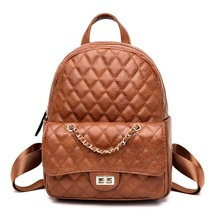 купить Women Leather Backpacks New Fashion Ladies Quilted Diamond Lattice Backpack Solid Color Backpack Travel Shoulder Bag School Bags дешево