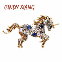 CINDY XIANG 7 Colors Choose Rhinestone Horse Brooches For Women Unicorn Brooch Pin Animal Fashion Jewelry Vintage Coat