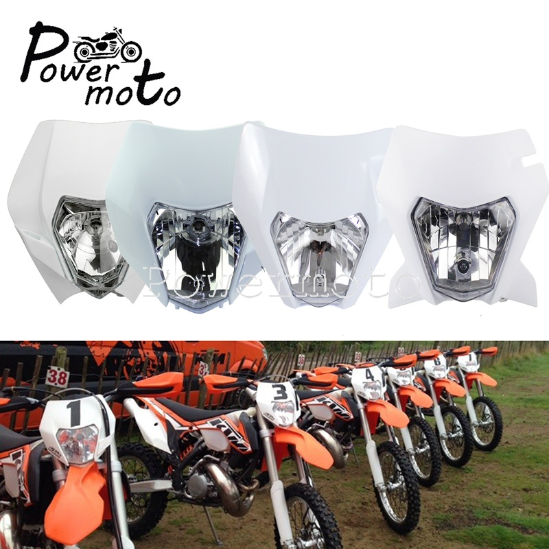 Dirt Bike Motocross Headlight Enduro MX Racing Headlamp Front Light Mask for KTM EXC XCW XC SX SXF XCF 250 350 450 White Black|  - title=