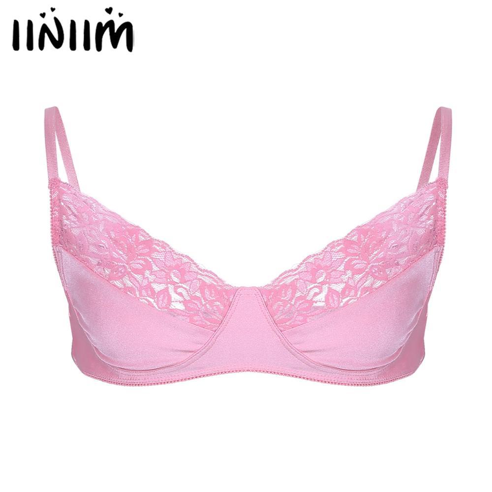 Iiniim Mens Male Sissy Lingerie Nightwear Bralette Hombre Vest See-through Lace Wire-free Bra Top Gay Sexy Babydoll Underwear