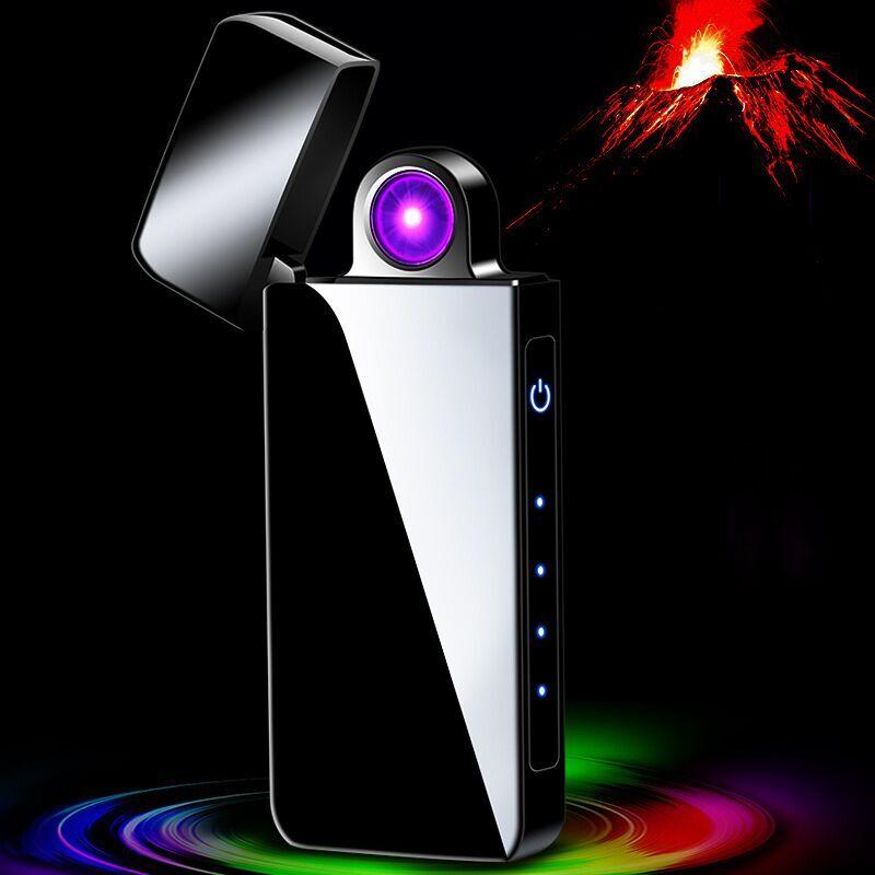 Купить с кэшбэком fingerprint Double Arc Plasma Lighter USB Pulse Windproof Lighter Metal Electronic smart display power Lighters Gifts