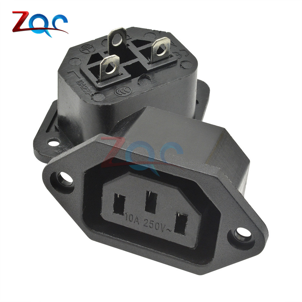 Chassis Female 15A/250V 3PIN 05231 AC IEC C13 C14 Inline Socket Plug Adapter Mains Power Connector Power Supply Output Outlet