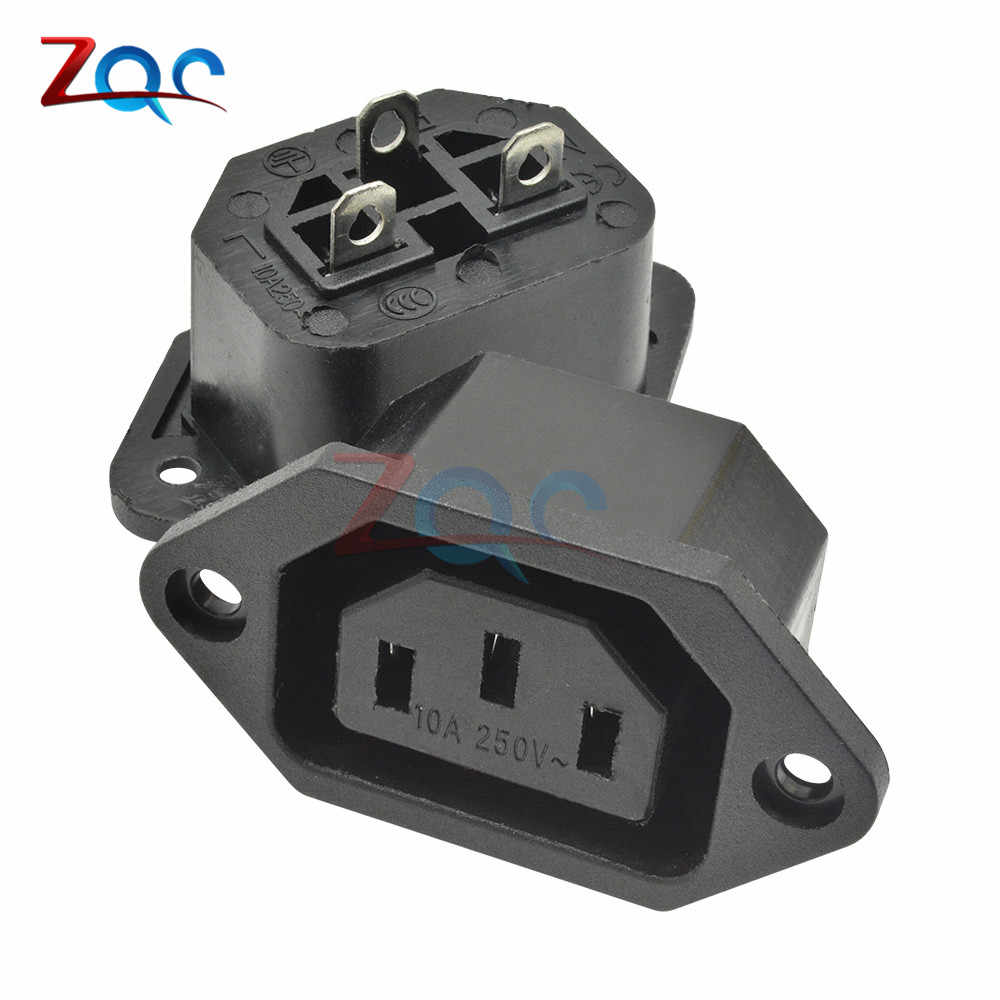 Chassis Vrouwelijke 15A/250V 3PIN 05231 AC IEC C13 C14 Inline Socket Plug Adapter Mains Power Connector supply Output Outlet