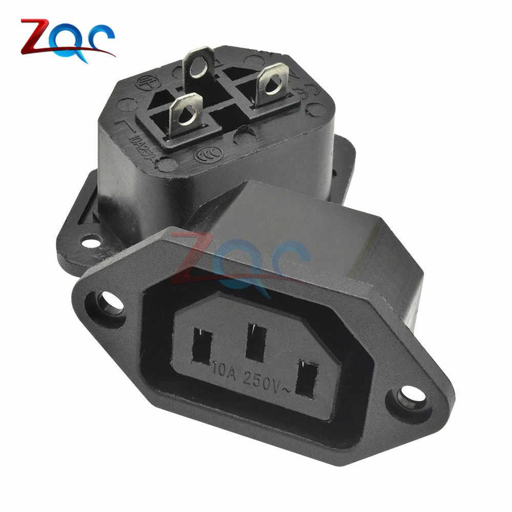 Chasis hembra 15A/250V 3PIN 05231 AC IEC C13 C14 adaptador de enchufe en línea conector de alimentación de red salida de alimentación