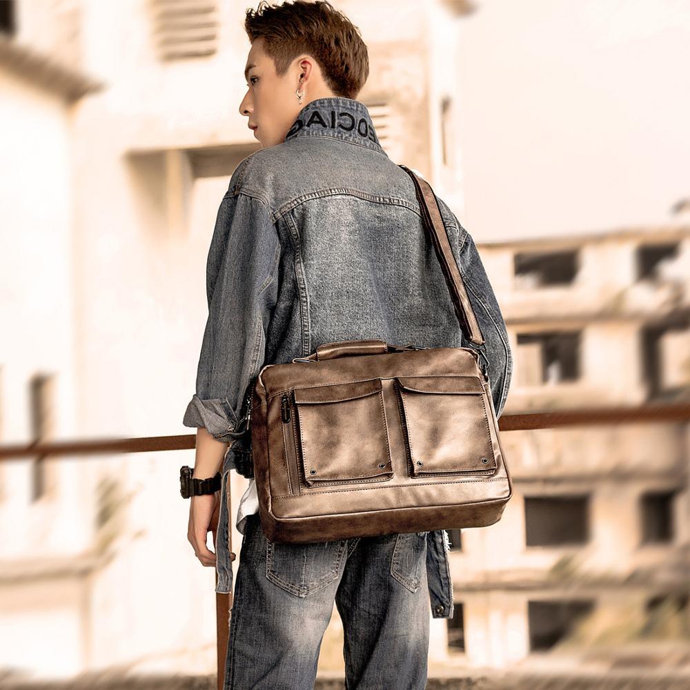 Scione Vintage Men PU Leather Briefcase Messenger Bag Laptop Large Capacity Shoulder Bag Casual Crossbody Bags For Men HandBags
