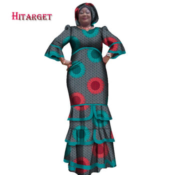 2020 New African Dresses for Women Printing Dashiki Dress & HeadtieAfrican Casual Indian Traditional Clothing Big Size WY1653