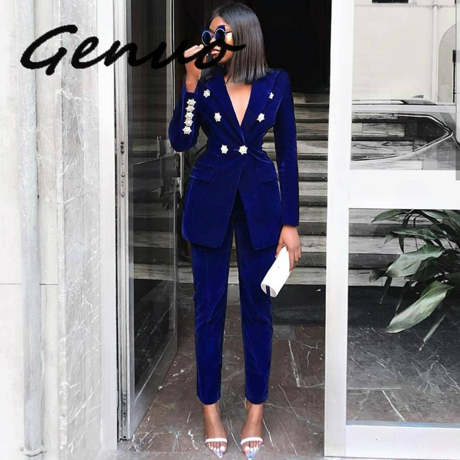2019 Winter New Women's Velvet Crystal Buckle Set Long Sleeve Jacket & Pants 2 Two Piece Set Celebrity Evening Runway Party Suit