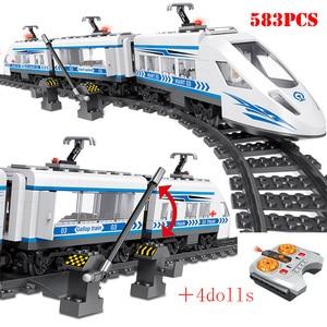 Image 1 - RC teknik şehir demiryolu yapı taşları uzaktan kontrol istasyonu demiryolu tren Enlighten tuğla oyuncaklar çocuklar için noel hediyeleri