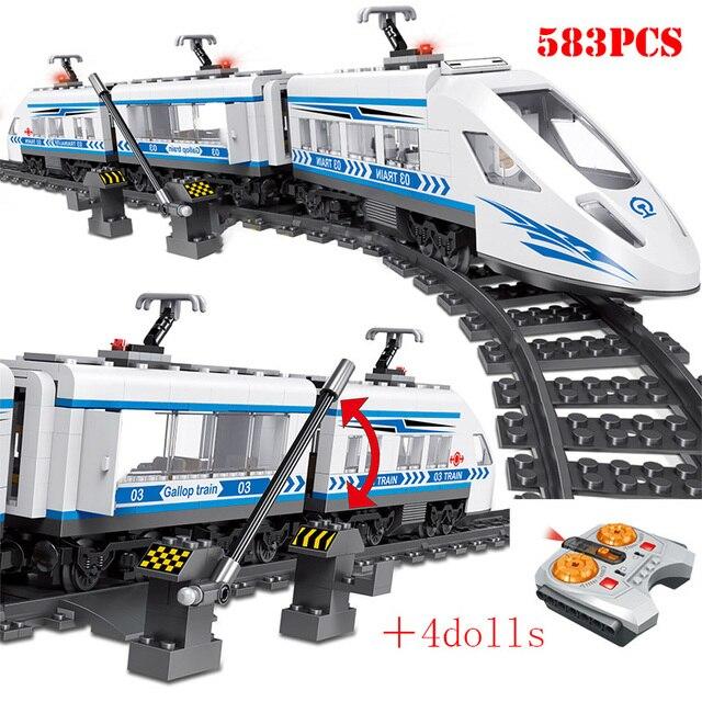 RC teknik şehir demiryolu yapı taşları uzaktan kontrol istasyonu demiryolu tren Enlighten tuğla oyuncaklar çocuklar için noel hediyeleri