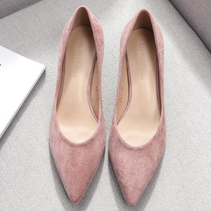 Image 3 - Square High Heels Shoes Woman 2020 Summer Flock Faux Suede  Point Toe Black Heels Womens Shoes Office Ladies Female Pumps Shoes
