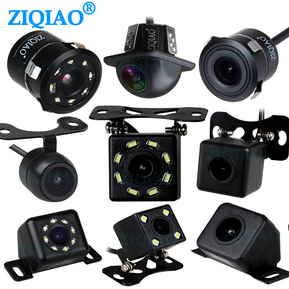 ZIQIAO CCD, vista trasera de marcha atrás de coche, cámara Universal de visión nocturna HD impermeable, cámara de respaldo de estacionamiento