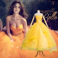 Customized Fantasia Women Halloween Cosplay Costume Southern Beauty And The Beast Adult Princess Belle Golden Yellow Long Dress