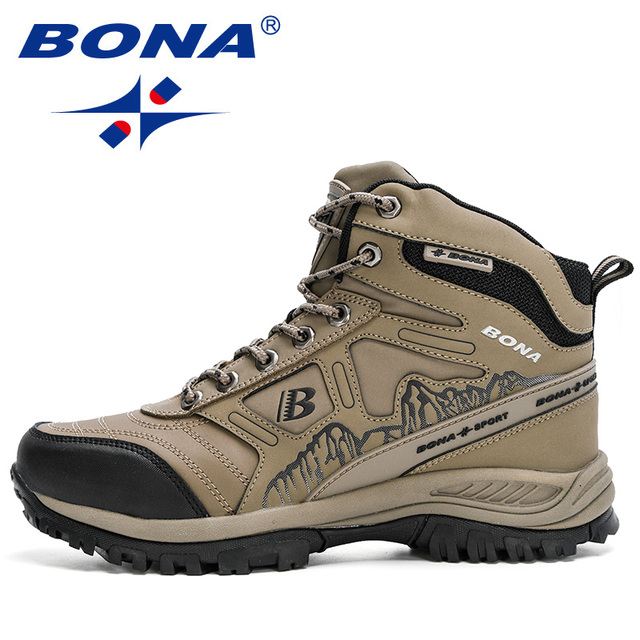 BONA 2020 New Arrival Hiking Shoes Action Leather Shoes Men Climbing & Fishing Shoes Man High Top Winter Plush Snow Boots Trendy 4